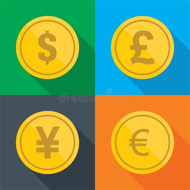 Moneta pieniądze projekta płaski wektor royalty ilustracja