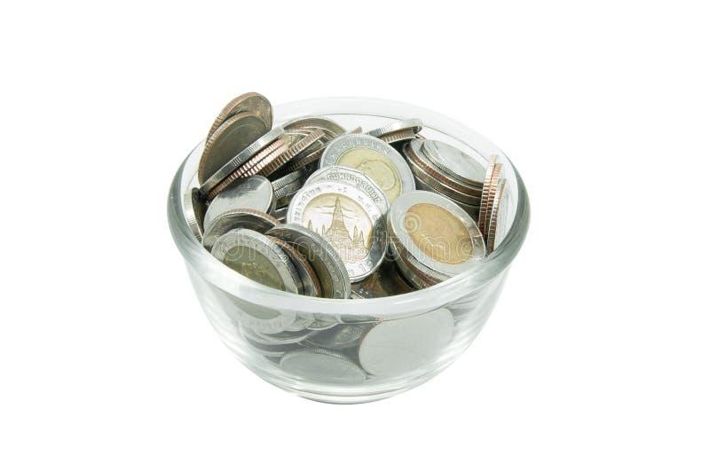 Moneta pieniądze w szklanym słoju obraz stock
