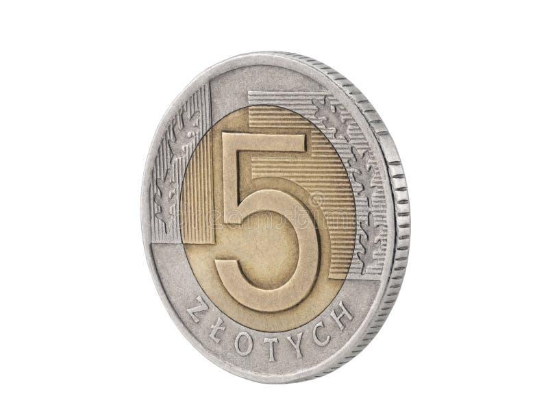 moneta polerująca złoty pięć fotografia stock