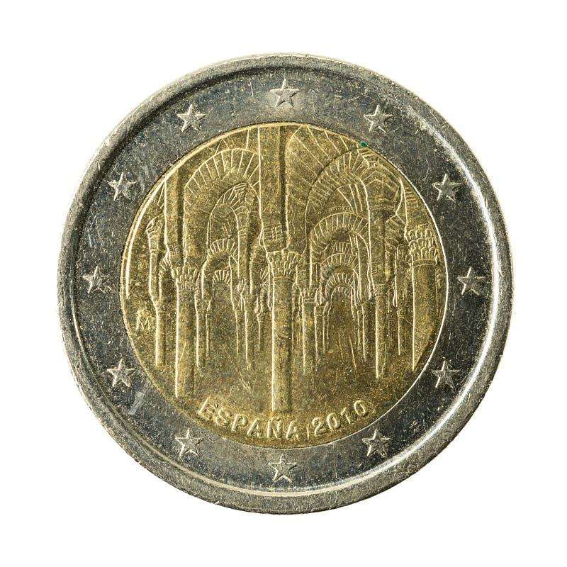 moneta spagna dell'euro 2 isolata su fondo bianco fotografie stock libere da diritti