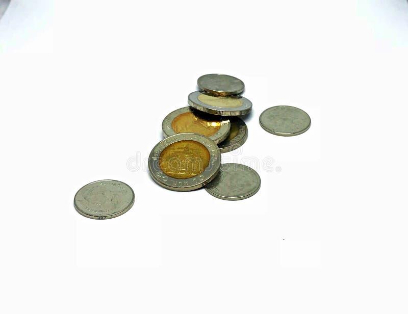 Moneta tailandese con fondo bianco immagini stock