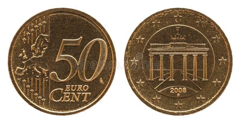 Moneta tedesca della Germania dell'euro centesimo 50, facciata frontale 50 ed Europa, porta di Brandeburgo della parte immagini stock libere da diritti