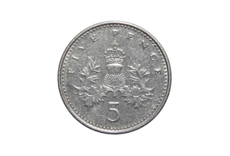 Moneta Wielki Brytania 5 pens zdjęcie stock