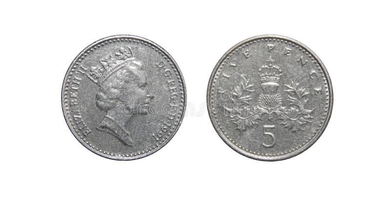 Moneta Wielki Brytania 5 pens zdjęcia stock