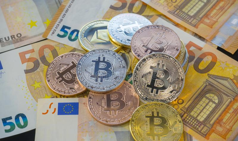 Monetary, Bitcoin BTC coins on bills of euro banknotes. Worldwide virtual internet cryptocurrency and digital payment system. Dig stock photos