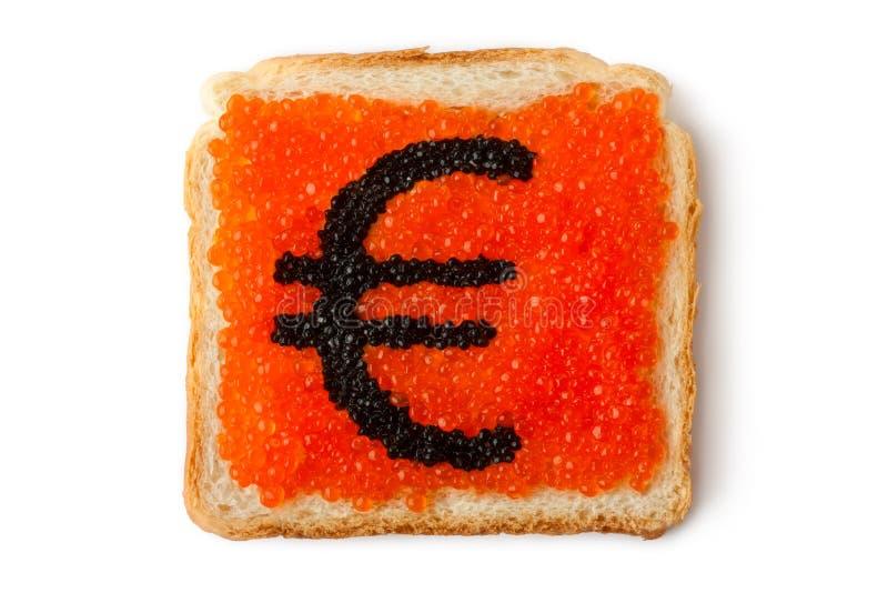 Monetary Euro sandwich with caviar stock photos