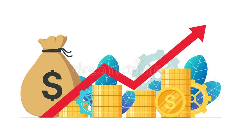 Monetary profit and growing red graph up. Economic growth, income from investments. vector illustration
