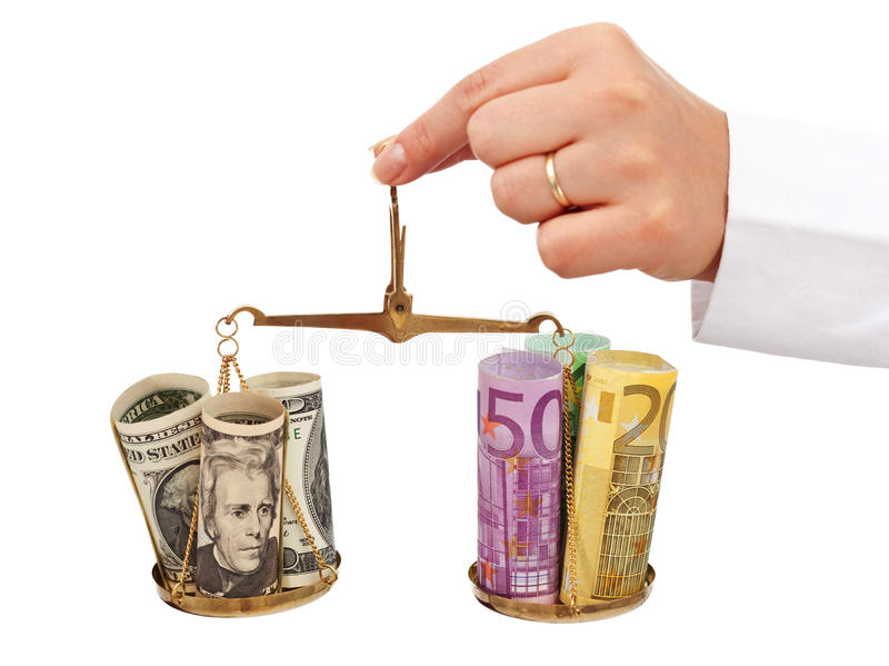 Monetary stability concept. With dollars and euros on scale - isolated stock photography