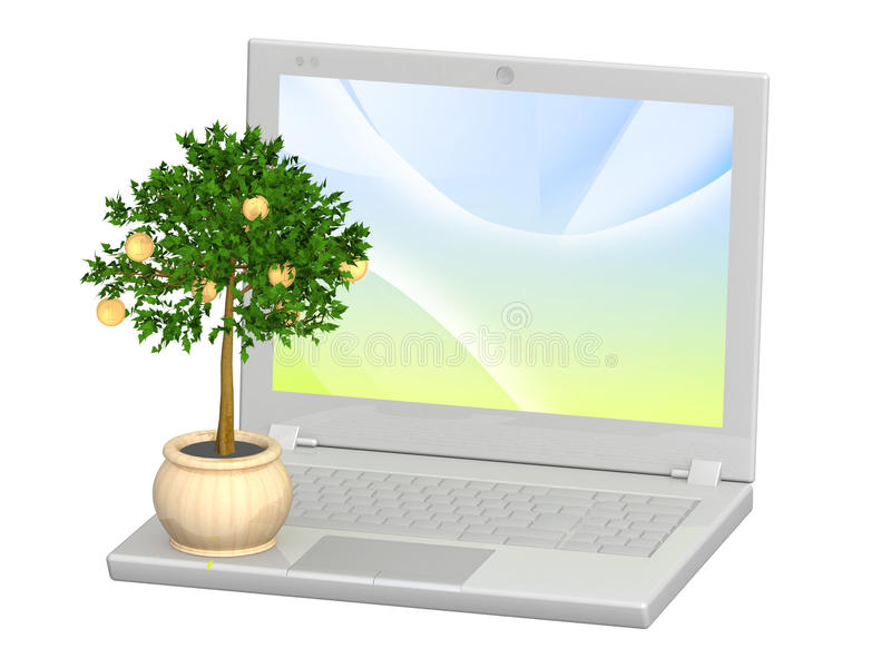Monetary Tree And Laptop Stock Images