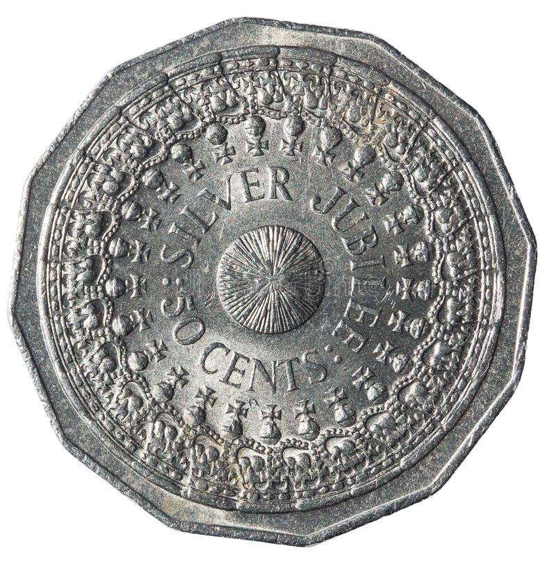 50 monete australiane dei centesimi che commemorano il venticinquesimo anniversario dell'accessione della regina Elizabeth II immagini stock libere da diritti