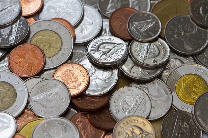 Monete canadesi immagine stock libera da diritti