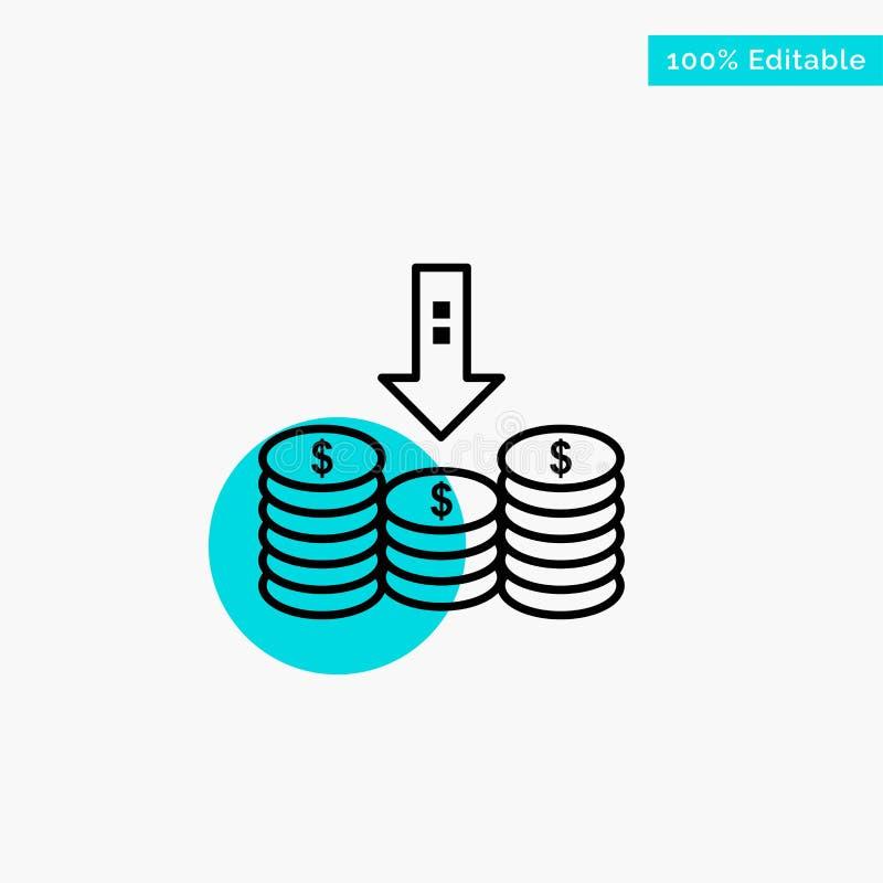 Monete, contanti, soldi, basso, icona di vettore del punto del cerchio di punto culminante del turchese della freccia royalty illustrazione gratis