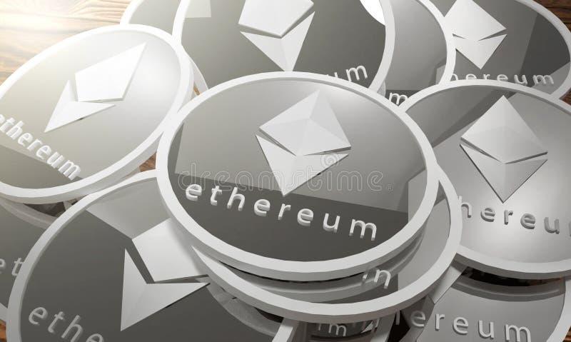 Monete d'argento di Ethereum, Blockchain rappresentazione 3d illustrazione vettoriale