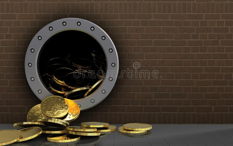 monete 3d sopra i mattoni illustrazione di stock