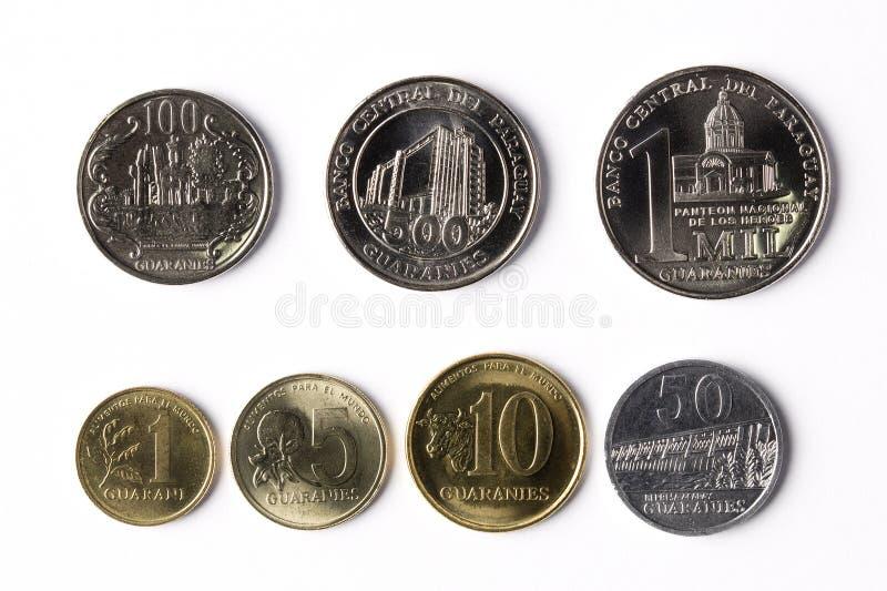 Monete dal Paraguay fotografie stock libere da diritti