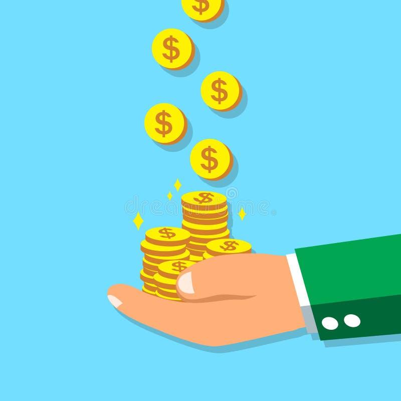 Monete dei soldi dei guadagni della grande mano di affari illustrazione vettoriale