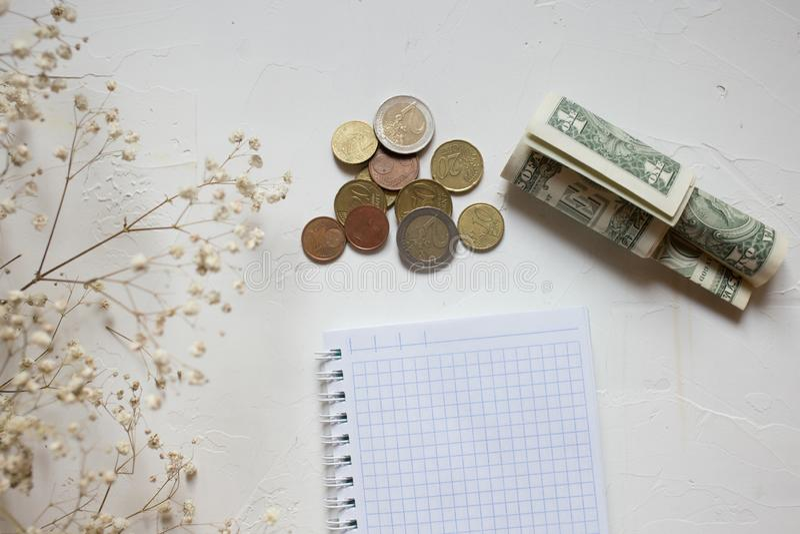 Monete dei soldi e contanti, fiore asciutto, taccuino vuoto su bianco immagine stock libera da diritti