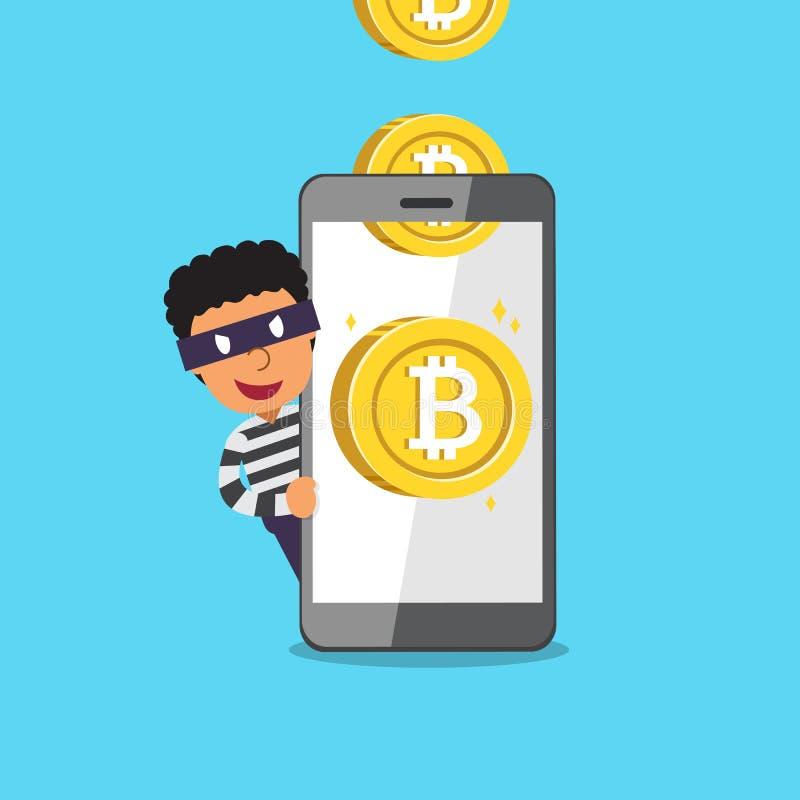 Monete dei soldi dei guadagni del ladro e dello smartphone del fumetto di vettore di concetto di Cryptocurrency illustrazione vettoriale
