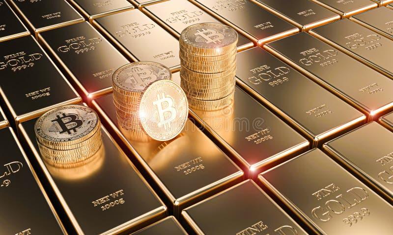 Monete del bitcoin dell'oro sui lingotti classici, concetto del cryptocurrency ed economia royalty illustrazione gratis