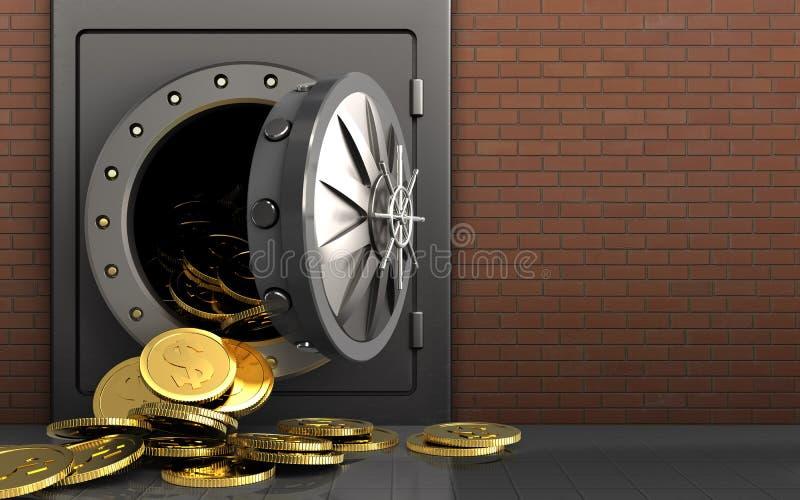 monete del dollaro 3d sopra i mattoni rossi illustrazione vettoriale