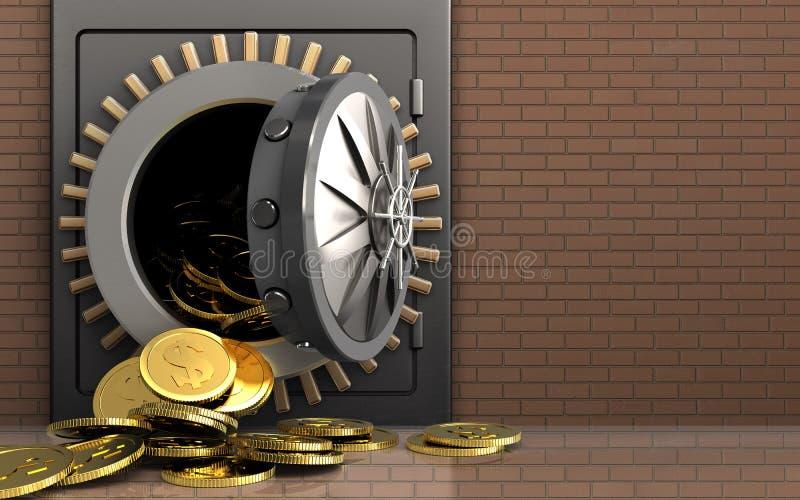 monete del dollaro 3d sopra la parete di mattoni illustrazione vettoriale