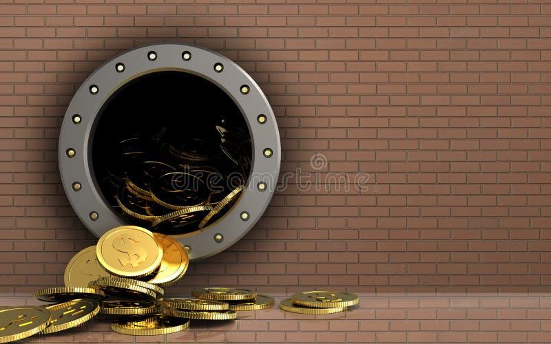 monete del dollaro 3d sopra la parete di mattoni royalty illustrazione gratis