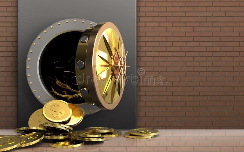 monete del dollaro 3d sopra la parete di mattoni illustrazione di stock