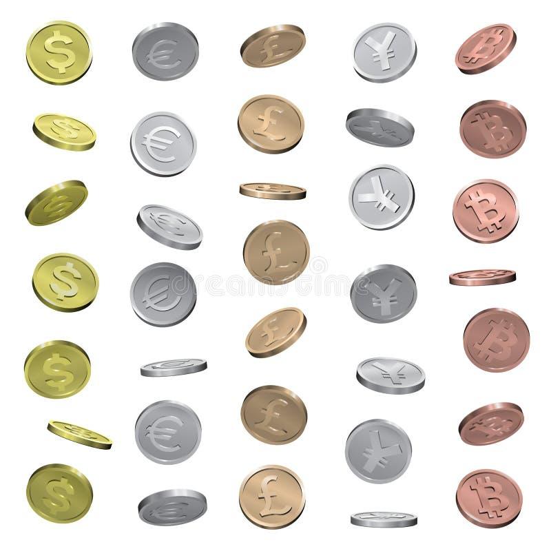 Monete del dollaro, dell'euro, della sterlina, di Yen e di bitcoin immagine stock libera da diritti