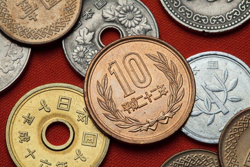 Monete del Giappone fotografia stock libera da diritti
