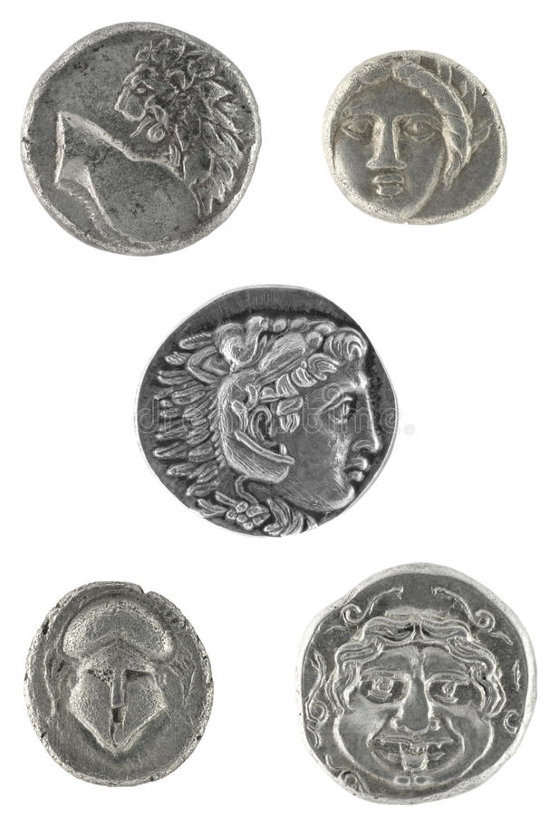 Monete del greco antico immagini stock libere da diritti