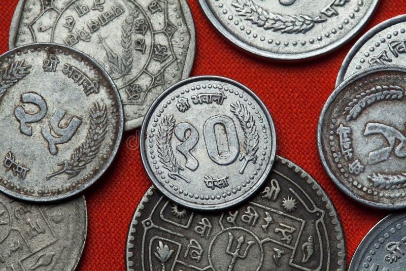 Monete del Nepal immagini stock