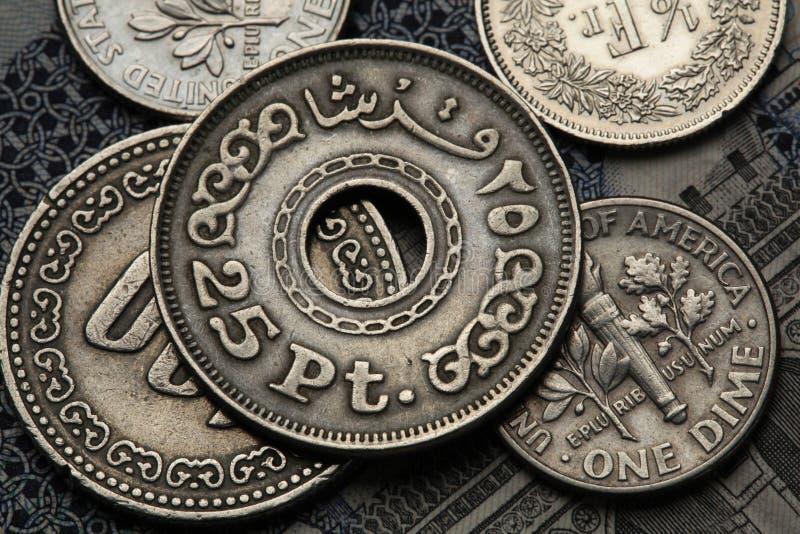 Monete dell'Egitto fotografia stock libera da diritti