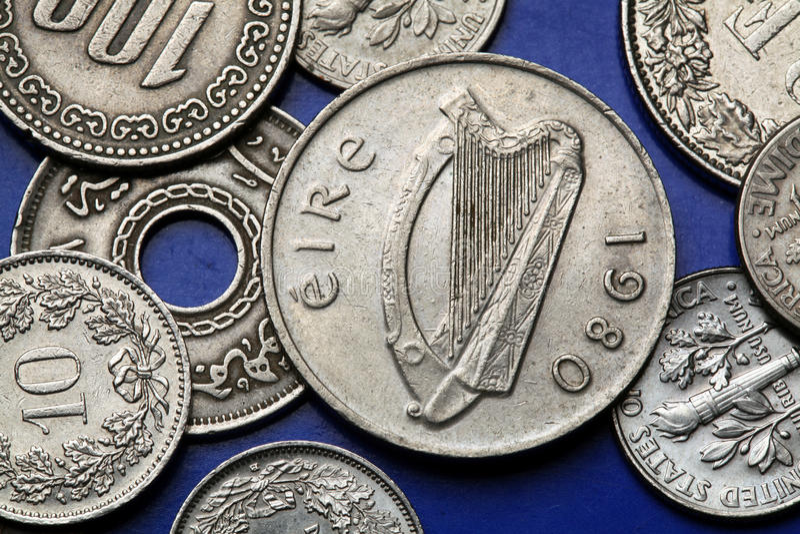 Monete dell'Irlanda fotografia stock libera da diritti
