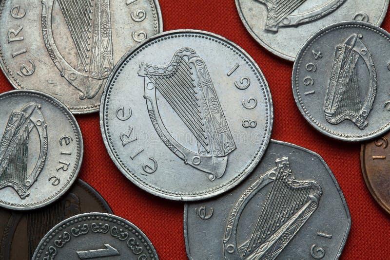 Monete dell'Irlanda Arpa celtica fotografia stock