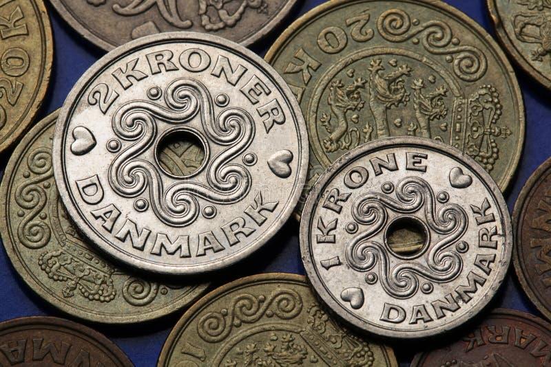 Monete della Danimarca immagini stock