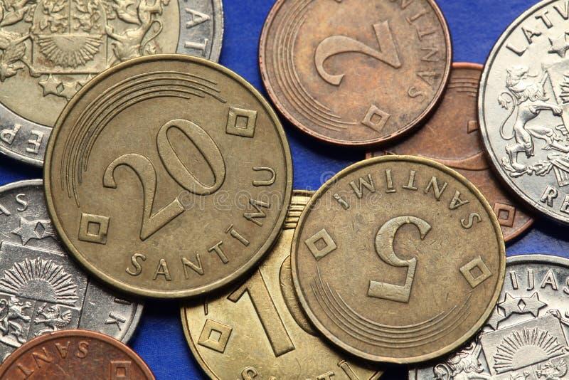 Monete della Lettonia fotografia stock libera da diritti