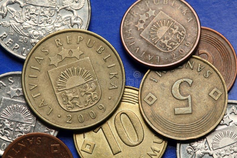 Monete della Lettonia fotografie stock