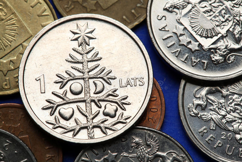 Monete della Lettonia immagine stock libera da diritti