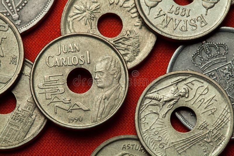 Monete della Spagna Re Juan Carlos I immagine stock