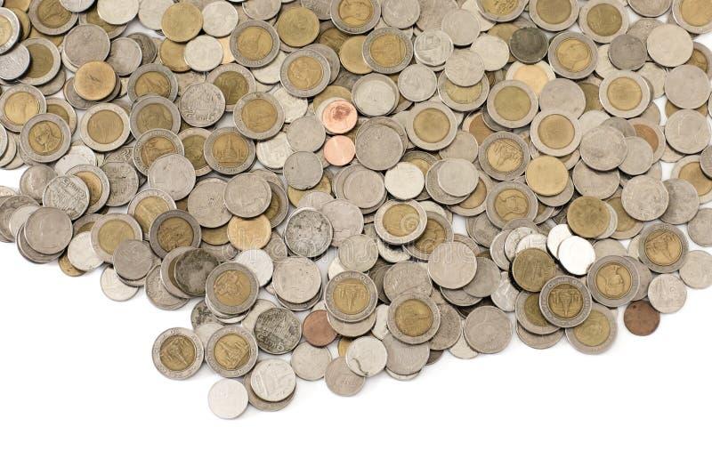 Monete della Tailandia su fondo bianco fotografia stock libera da diritti