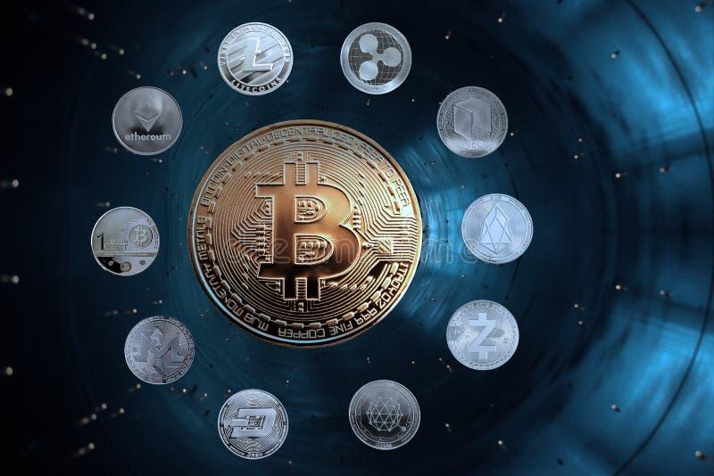 Monete delle valute cripto nella particella dell'acceleratore fotografie stock