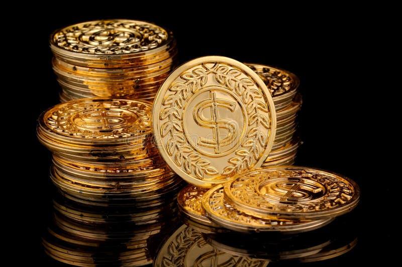Monete di oro fotografia stock