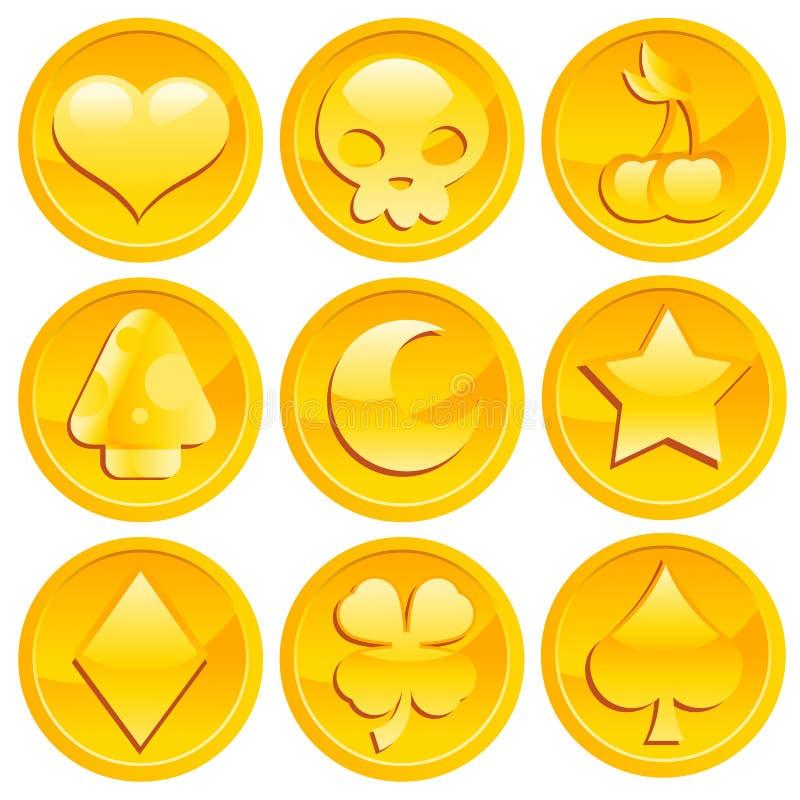 Monete di oro del gioco illustrazione di stock