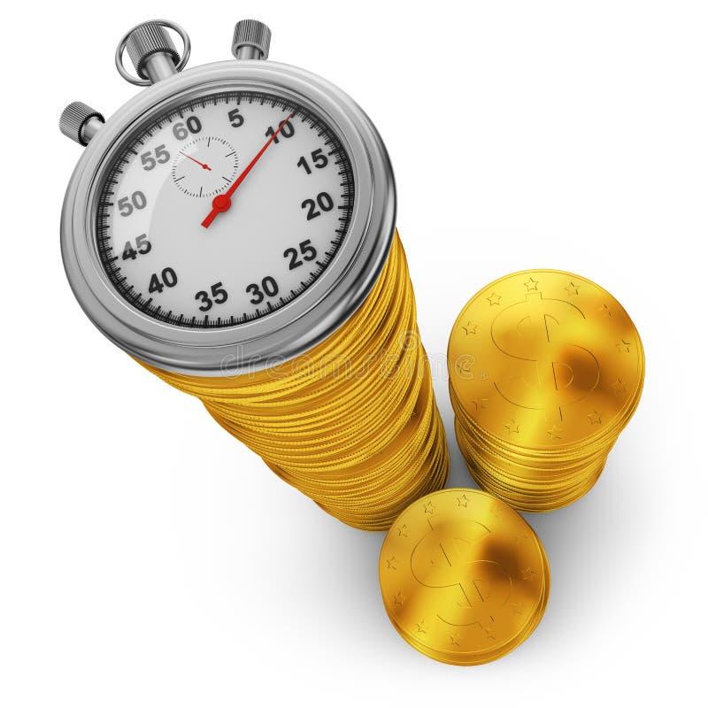 Monete di oro e un cronometro illustrazione di stock