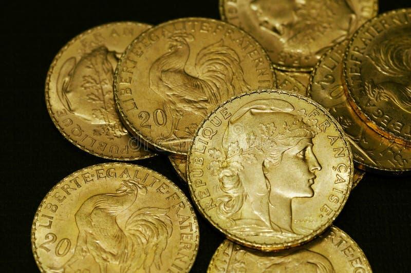 Monete di oro francesi fotografia stock