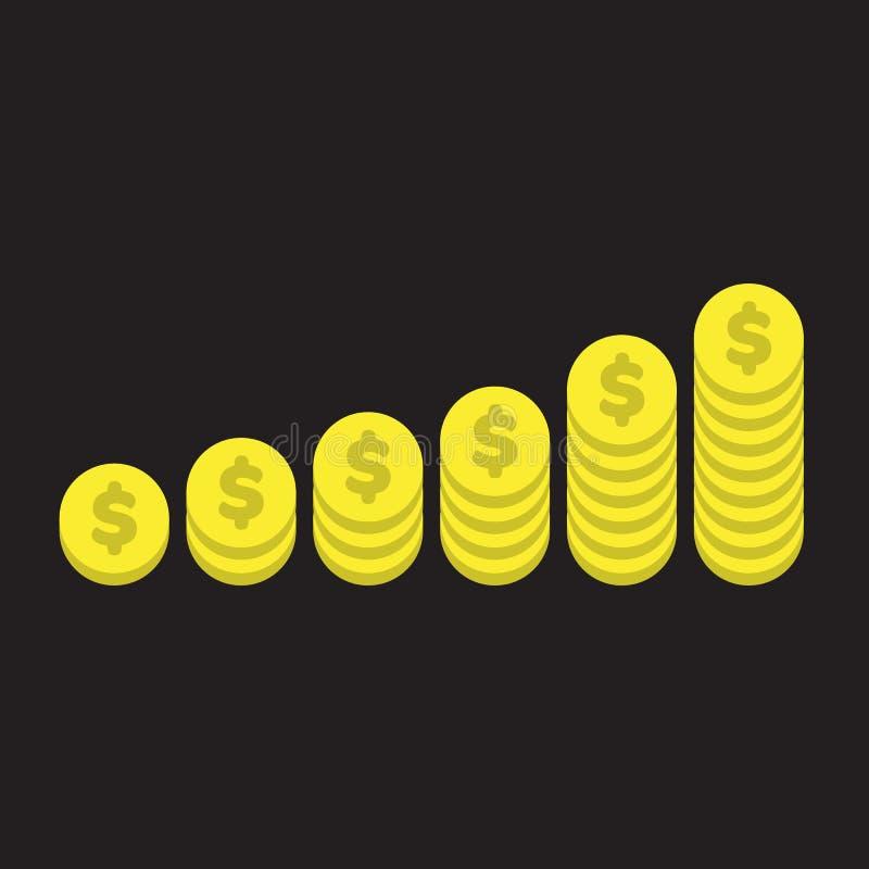 Monete di oro illustrate illustrazione di stock