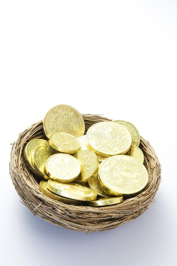 Monete di oro in nido fotografia stock