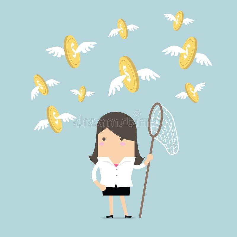 Monete di volo del fermo della donna di affari illustrazione di stock
