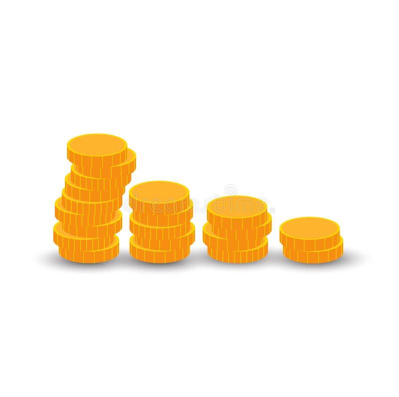 Monete dorate illustrazione di stock