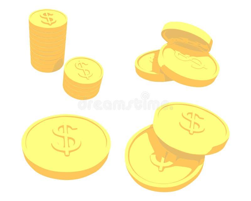 Monete dorate con il segno del dollaro royalty illustrazione gratis